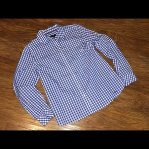 TALBOTS Blue And White Gingham Long Sleeve 6P